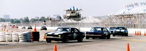 Vintage Trans-Am cars at the Tustin Thunder Road Races.
